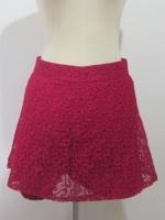 (ไซส์ M สีชมพูเลือดหมู )กระโปรงกางเกง กางเกงกระโปรง ผ้าลูกไม้ กางเกงด้านในเป็นผ้าลูกไม้ ตามรูป ซิปหลัง (ใหม่ พร้อมส่ง) ร้าน ladyshop4u