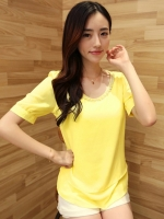 (สีเหลือง)เสื้อทำงานแฟชั่นเกาหลีออฟฟิศ ผ้าชีฟอง คอประดับคริสตัล แขนสั้น ผ้าชีฟอง (ใหม่ พร้อมส่ง) ร้าน LadyShop4U