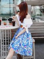 กระโปรงลายดอกไม้ ผ้าชีฟอง สีฟ้า มีเข็มขัดสีน้ำตาล(ใหม่ พร้อมส่ง) ร้าน Ladyshop4U