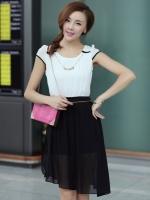 (สีดำ)ชุดเดรสแซกสั้นเกาหลี เสื้อผ้าชีฟองสีขาว แขนสั้น ซิปข้าง กระโปรงตัวในสีดำมีซิปสามารถถอดชิ้นบนได้ มีสร้อยคอน่ารัก (ใหม่ พร้อมส่ง) ร้าน Ladyshop4u