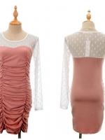 เดรสออกงาน (mini dress) เดรสสั้นเข้ารูป คอกลม แขนยาวผ้าลูกไม้สีขาว ลำตัวสีชมพูผ้ายืดเข้ารูป เรียบ ดูดี สง่ามาก (ใหม่ พร้อมส่ง) ร้าน LadyShop4U