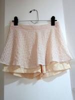 กระโปรง+กางเกง กระโปรงสั้น เป็นผ้าลูกไม้สีชมพูอ่อน+พื้นเหลืองอ่อน กางเกงสีเหลืองอ่อน (ใหม่ พร้อมส่ง)