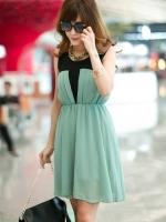 Pre order (สีเขียว)ชุดเดรสแซกสั้นแฟชั่นเกาหลี คอกลม แขนกุด ผ้าชีฟอง ช่วงคอสีดำ (ใหม่ พรีออเดอร์) ร้าน Ladyshop4u