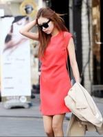 เดรสทำงาน เดรสแฟชั่น สั้น ผ้าลินิน สีแดง เดรส (ใหม่ พร้อมส่ง) ร้าน Ladyshop4u
