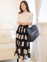 (สีดำ) กระโปรงยาวแฟชั่นเกาหลี สีดำ ลายดอกไม้สีขาว พร้ิว ผ้าชีฟอง มีซับใน ซิปข้าง (ใหม่ พร้อมส่ง) ladyshop4U