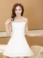 (สีขาว ) ชุดเดรสแซกสั้นแฟชั่นเกาหลี ชุดเดรสผ้าลูกไม้สีขาว ผ้าลูกไม้ด้านใน ด้านนอกผ้าใยแก้วบางๆ มีซับในทั้งตัว ซิปหลัง (ใหม่ พร้อมส่ง) ร้าน Ladyshop4u