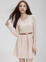 (สีครีม) ชุดเดรสแซกสั้นทำงานออกงานเกาหลี เสื้อแขนยาวผ้าตาข่าย คอกลม มีเข็มขัดหนัง ซิปข้าง (ใหม่ พร้อมส่ง) ร้าน Ladyshop4u