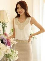 (สีขาว)เสื้อทำงานแฟชั่นเกาหลีออฟฟิศ ผ้าชีฟอง คอกลม ประดับผ้าลูกไม้ (ใหม่ พร้อมส่ง) ร้าน LadyShop4U