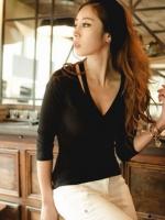 เสื้อแฟชั่น เสื้อลำลอง เสื้อยืดรัดรูป เสื้อทำงาน แขนยาว สีดำ เซ็กซี่ (ใหม่ พร้อมส่ง) ร้าน ladyshop4u