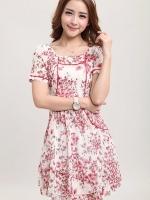 (สีชมพู)ชุดเดรสแซกสั้นแฟชั่นเกาหลี เดรสลายดอกไม้ สีขาวชมพู คอกลม แขนสั้น ผ้าชีฟอง แต่งกระเป๋าด้านหน้า (ใหม่ พร้อมส่ง) ร้าน Ladyshop4u
