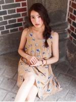 ชุดเดรสสั้นแฟชั่นเกาหลี ผ้าป่าน สีน้ำตาลลายดอกไม้ คอกลม ไม่มีแขน (ใหม่ พร้อมส่ง) ร้าน Ladyshop4u