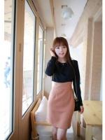 เดรสทำงาน เดรสสั้น เดรสแขนยาว เดรสเข้ารูป คอกลมแขนยาว แต่งลูกเล่นด้านหน้าด้วยผ้าชีฟองสีดำ กระโปรงเข้ารูปสีชมพูกะปิ (ใหม่ พร้อมส่ง) ร้าน Ladyshop4u