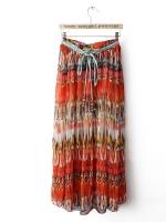 กระโปรงยาว ผ้าชีฟอง สีส้มอิฐ กระโปรงยาวแฟชั่นเกาหลี (ใหม่ พร้อมส่ง) ร้าน Ladyshop4U