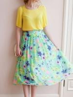 กระโปรงยาวลายดอกไม้ สีเขียว กระโปรงพลีทยาว กระโปรงแฟชั่นเกาหลี (ใหม่ พร้อมส่ง) ร้าน Ladyshop4U