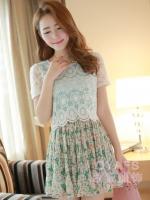 ชุดเดรสสั้นแฟชั่นเกาหลีน่ารัก แนวหวาน สีเขียว เสื้อลูกไม้คอกลม แขนสั้น กระโปรงลายดอกไม้อัดพลีท (ใหม่ พร้อมส่ง) ร้าน Ladyshop4u
