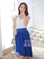 (สีน้ำเงิน)ชุดเดรสแซกสั้นเกาหลี เสื้อผ้าชีฟองสีขาว แขนสั้น ซิปข้าง กระโปรงตัวในสีำน้ำเงินมีซิปสามารถถอดชิ้นบนได้ มีสร้อยคอน่ารัก (ใหม่ พร้อมส่ง) ร้าน Ladyshop4u