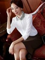 (สีขาว)เสื้อผ้าแฟชั่นเกาหลีทำงานออฟฟิศ สีดำ คอปก แขนสามส่วนผ้าชีฟอง ผ้าชีฟอง กระดุมหน้า( ใหม่ พร้อมส่ง) ร้าน LadyShop4U