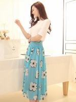 (สีฟ้า ) กระโปรงยาวแฟชั่นเกาหลี สีฟ้า ลายดอกไม้สีขาว พร้ิว ผ้าชีฟอง มีซับใน ซิปข้าง (ใหม่ พร้อมส่ง) ladyshop4U