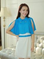 (สีฟ้า)ชุดเดรสสั้นแฟชั่นเกาหลี ชุดออกงาน เสื้อคลุมไหล่ผ้าชีฟองสีฟ้า ชุดเดรสด้านในสีขาวแขนกุด มีผ้าคาดเอว (ใหม่ พร้อมส่ง) ร้าน Ladyshop4u