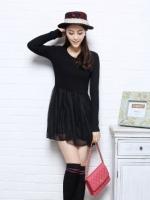 Pre Order (สีดำ ไซส์ S)ชุดเดรสแซกสั้นแฟชั่นเกาหลีน่ารัก คอกลม สีดำผ้ายืด แขนยาว กระโปรงบานสีดำผ้าชีฟอง(ใหม่ พรีออเดอร์)ร้าน Ladyshop4U