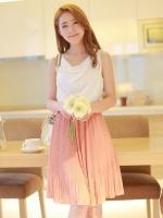 (สีชมพู)ชุดเดรสแซกสั้นแฟชั่นเกาหลีแนวหวาน สีชมพู คอย้วย แขนกุด เอวยางยืด กระโปรงอัดพลีท แถมผ้าผูกเอว (ใหม่ พร้อมส่ง) ร้าน Ladyshop4u