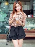 กางเกงขาสั้นเอวสูง สีดำ เอวยางยืด แถมสายผ้า(ใหม่ พร้อมส่ง) ร้าน ladyshop4u