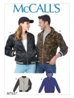 แพทเทิร์นตัดเสื้อแจ็คเก็ต ชาย หญิง มีฮูด ไม่มีฮูด McCall's (M7637XN) ไซส์ XL-XXL-XXXL