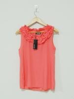 เสื้อแขนกุด ผ้าชีฟอง สีส้ม เสื้อลำลอง เสื้อใส่เที่ยว เสื้อเกาหลี (ใหม่ พร้อมส่ง) ร้าน Ladyshop4u