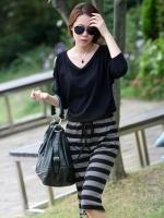 Pre Order (สีดำ)ชุดเดรสยาวแฟชั่นเกาหลี สีดำ เสื้อสีดำคอกลม แขนยาว เว้าไหล่ กระโปรงทรงกระบอก สายรูดเอว (ใหม่ พรีออเดอร์) ร้าน Ladyshop4u
