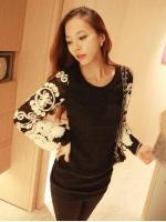 (ดำ)เสื้อแฟชั่นเกาหลี เสื้อทำงาน เสื้อออกงาน เสื้อแฟชั่น แขนยาว ปักลายดอกไม้ที่แขนสวยมากๆ ดูดี (ใหม่ พร้อมส่ง)ร้าน LadyShop4U