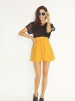 กระโปรงแฟชั่น กระโปรงทำงาน กระโปรงสั้น กระโปรงสีเหลือง กระโปรงเกาหลี สีเหลืองมัสตาด น่ารักมาก ๆ ผ้า Velvet ดูดี (ใหม่ พร้อมส่ง ) LadyShop4U