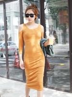 ชุดเดรสแฟชั่นเกาหลียาว ชุดเดรสเข้ารูป คอกลม แขนยาว เว้าไหล่ ผ้ายืดสีเหลือง ชุดเดรสแฟชั่น(ใหม่ พร้อมส่ง) ร้าน Ladyshop4u