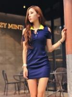 Pre order (สีน้ำเงิน) ชุดเดรสแซกสั้นแฟชั่นเกาหลี สีน้ำเงิน คอปกสีเขียวขอบชมพู เว้าไหล่ แขนกุดเข้ารูป ผ้าคอตตอน(ใหม่ พรีออเดอร์)ร้าน Ladyshop4U