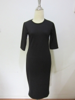 (สีดำ) ชุดเดรสแซกยาว สีดำ คอกลม แขนสามส่วน ผ้าคอตตอล เข้ารูป เดรสแซกใส่ไปงานศพ (ใหม่ พร้อมส่ง) ร้าน Ladyshop4u