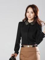 (สีดำ)เสื้อผ้าแฟชั่นเกาหลีทำงานออฟฟิศ สีดำ คอปก แขนยาวผ้าชีฟอง ผ้าชีฟอง กระดุมหน้า( ใหม่ พร้อมส่ง) ร้าน LadyShop4U