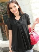 (สีดำ)เสื้อชีฟองแฟชั่น สีดำ คอปก แต่งผ้าลูกไม้ จั๊มแขนตุ๊กตา เสื้อแบบปล่อย ใส่สบาย (ใหม่ พร้อมส่ง) ร้าน LadyShop4U