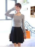 Pre Order (สีเทา)ชุดเดรสแซกสั้นแฟชั่นเกาหลีน่ารัก คอกลม สีเทาลายขวางสลับขาว แขนยาว กระโปรงบานสีดำเข้ารูป(ใหม่ พรีออเดอร์)ร้าน Ladyshop4U