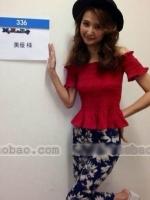 เสื้อแฟชั่นเกาหลี คอเปิด สีแดง ผ้าป่าน หน้าอกยืด จั๊มแขน (ใหม่ พร้อมส่ง) ร้าน Ladyshop4u