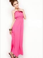 เดรสยาว สีชมพู มินิเดรส เดรสทำงาน เดรสน่ารัก เดรสชีฟอง เอวยางยืด (ใหม่ พร้อมส่ง) ร้าน Ladyshop4u