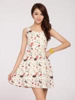 ชุดเดรสสั้น แฟชั่นเกาหลี ลายดอกไม้ แขนกุด กระโปรงบาน(ใหม่ พร้อมส่ง) ร้าน Ladyshop4u