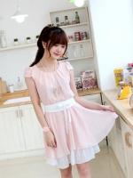 เดรสแฟชั่น ผ้าชีฟอง สีชมพู คอกลม มาพร้อมผ้าผูกเอวสีขาว (ใหม่ พร้อมส่ง)ร้าน Ladyshop4u