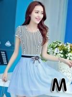 (สีฟ้า ไซส์ M) ชุดเดรสแซกสั้นแฟชั่นเกาหลี เสื้อผ้าคอตตอนสีขาวสลับดำ คอกลม แขนสั้นแต่งขอบด้วยลูกไม้ เย็บติดกระโปรงผ้าแก้ว สีฟ้า ซิปข้าง (ใหม่ พร้อมส่ง) ร้าน Ladyshop4u