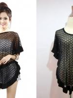 (สีดำ) เสื้อซีทรู เสื้อแฟชั่น เสื้อปีกค้างคาวแต่งระบาย สีดำ ผ้าคอตตอน+ตาข่ายนิ่ม เซ็กซี่ (ใหม่ พร้อมส่ง) ร้าน LadyShop4U