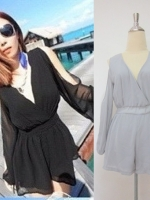 (สีเทา)ชุดจั๊มสูทกางเกงขาสั้นแฟชั่นเกาหลี แขนยาว ผ้าชีฟอง เว้าไหล่ เอวสม๊อกยางยืด กางเกงขาสั้น (ใหม่ พร้อมส่ง) ร้าน Ladyshop4u