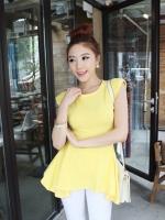 เสื้อยืด คอกลม ยาวปิดสะโพก โชว์หลัง สีเหลือง (สินค้าใหม่ พร้อมส่ง) ร้าน Ladyshop4u