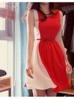 (ไซส์ L)สีแดงขาว ชุดเดรสสั้นแฟชั่นเกาหลีน่ารัก ชุดออกงาน คอกลม แขนกุด มีเข็มขัดโบว์ที่เอว ซิบหลัง ซับในสีครีม (ใหม่ พร้อมส่ง) ร้าน Ladyshop4u