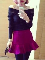 (สีดำ) เสื้อทำงานแฟชั่นเกาหลีออฟฟิศ ผ้ายืด คอปาด แขนยาว เข้ารูป เซ็กซี่ (ใหม่ พร้อมส่ง) ร้าน LadyShop4U
