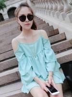 (สีฟ้า)เสื้อทำงานแฟชั่นเกาหลีออฟฟิศ ผ้าชีฟอง สายเดียว เว้าไหล่ แขนสี่ส่วนระบายเป็นชั้นๆ ใส่สบาย (ใหม่ พร้อมส่ง) ร้าน LadyShop4U