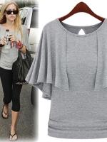 เสื้อแฟชั่น เสื้อลำลอง เสื่อใส่เที่ยว เสื้อยืดแฟชั่น แต่งระบาย สีเทา เสื้อยืดเกาหลี (ใหม่ พร้อมส่ง) ร้าน LadyShop4U