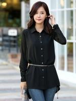 (สีดำ)เสื้อผ้าแฟชั่นเกาหลีทำงานออฟฟิศ สีดำ คอปก แขนยาว กระดุมหน้า แขนผ้ายืดสีดำ ชายเสื้อด้านหลังยาว( ใหม่ พร้อมส่ง) ร้าน LadyShop4U